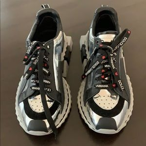 SOLD' DOLCE & GABBANA SILVER KING/QUEEN SNEAKERS